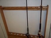 Wallmount Fishing Pole Rack - Golden Oak Finish