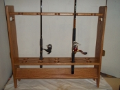 Fishing Pole Rack - Freestanding - Golden Oak Finish