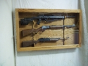 3 Gun Wooden Locking Display Case  Red Oak w/ Golden Oak Finish