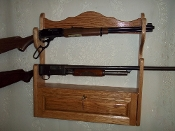 2 Gun Rack with Locking Storage Compartment ~ Golden Oak Finish