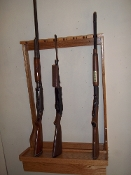 8 Gun Vertical Wall Mount Rack Single Barrel - Golden Oak Finish