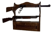 2 Gun Rack with Locking Storage Compartment ~ Walnut Finish