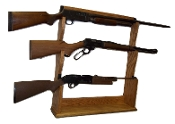 3 Gun Rack for Wall, Mantle or Trade Show - Golden Oak Finish
